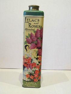 Vintage Lilacs and Roses Talc Tin Floral Talcum Powder