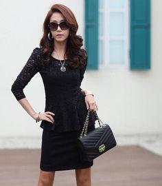 Bluse Elegantes schwarzes Hemd mit Weste mit Beautiful Black Lace kore azj2013-8 | eBay