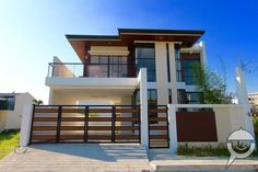 single detached house in pasig Greenwoods - 0 House Fence Design, Two Story House Design, 2 Storey House Design, Duplex House Design, Two Storey House Plans, Modern Exterior House Designs, Modern Small House Design, Modern House Facades, Modern Architecture House