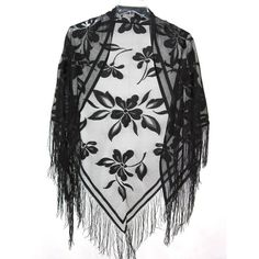 Red Hat Ladies Boutique Lovely Black Lace Shawl ($29) ❤ liked on Polyvore featuring outerwear, shawls, tops, scarves, jackets, lace shawl, fringe shawl, lacy shawl and red shawl