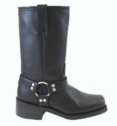 Ride Tecs Womens Black 12in Harness Boot Leather Motorcycle