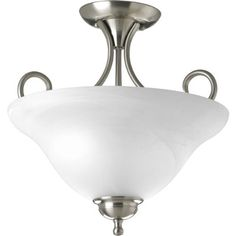 Progress Lighting P3460-09 2-Light Semi-Flush, Brushed Nickel