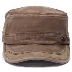 Men Women Vintage Military Army Plain Flat Cap Washed Peaked Hat