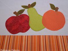 Pano de prato frutas - Patchaplique By Fabiana Fabrin