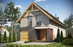 Projekt domu D102C 126,45 m2 - koszt budowy - EXTRADOM Home Fashion, Shed, New Homes, Outdoor Structures, Cabin, House Styles, Plans, House Ideas, Houses