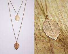 Bronze Rose Leaf Necklace  Long Length by SilkstoneDesigns on Etsy, €42.00