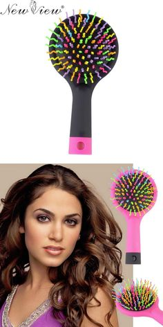 [Visit to Buy] NewView Magic Hair Comb Brush Rainbow Volume Styling Tools Anti Tangle Anti-static Head Massager Hairbrush With Mirror #Advertisement