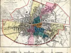 Dublin Street Directory Map showing the boundaries of several wards, Dublin Map, Dublin City, Old Pictures, Old Photos, General Post Office, Dublin Street, City Library, Old Maps, City Maps