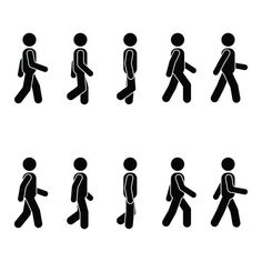 Man People Various Walking Position. Vector Standing Person Icon Symbol Sign Pictogram On White. Stock Vector - Illustration of flee, human: 107743745 People Png, People Icon, Stick Figure Animation, Person Icon, Walking Animation, Walking Man, Man Icon, Graphic Design Pattern, Cartoon People
