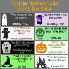 Printable Halloween Joke Lunch Box Notes