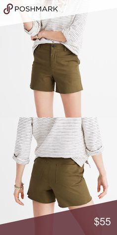 Madewell High Rise Twill Shorts! Brand new with tags Madewell high rise twill shorts in Military green. (Surplus). Can be worn high waisted or normal!                                                                                          • Size 25                                                                                  • Features cool raw hems.                                                     • Machine wash. Madewell Shorts