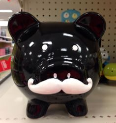 """Stache My Cash""/Black Piggy Bank With White Mustache/Target Piggy Banks, This Little Piggy, Mustache, Target, Baby Boy, Black, Moustache, Black People, Money Bank"