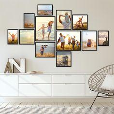 Photo Wall Decor, Tv Decor, Photo Wall Collage, Home Decor, Wall Frame Set, Frames On Wall, Living Room Decor Tv, Black And White Living Room Decor, Personalized Wall Decor