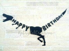 Dinosaur birthday banner as pictured. Includes (1 )Happy Birthday banner as shown -Small Banner is around 3.5-4 long. Biggest peice stands 7 inches tall, smallest is 1.5 in. -Large is between 5.5-6 long. Biggest peice stands 12 inches tall, smallest is 2.25 in. Length also depends