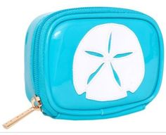 """Light Blue """"Medium Avery"""" Cosmetic Bag with White Starfish 2 Florida Location, Beach Accessories, Cosmetic Case, Beauty Essentials, Starfish, Palm Beach, Light Blue, Pouch, Jewels"""