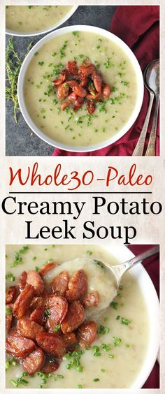 Paleo Creamy Potato Leek Soup- Whole30, dairy free, gluten free, and so delicious!