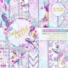 Mermaid Digital Paper Pack, Watercolor Sea, Seamless Patterns, Repeatable Pattern, Seashells, Seahorse, Coral Reef, Sea Elements, DIY Pack