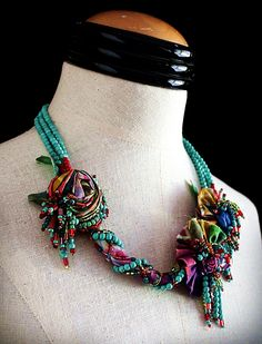 SUMMER GIRL Turquoise Beaded Fabric Statement Necklace. $225.00, via Etsy.