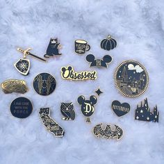 Thought I'd share my #blackandgold #enamelpin collection . Just restocked the Art Balloon Pin! #blackandgoldpins #enamelpins…
