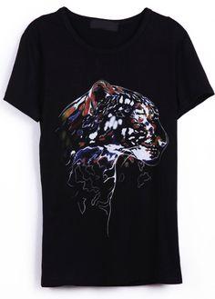 #SheInside Black Short Sleeve Tiger Pattern T-shirt - Sheinside.com