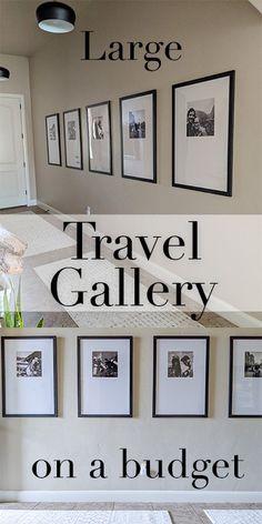 Travel Gallery Wall, Gallery Wall Frames, Black Frames On Wall, White Photo Frames, Black And White Picture Wall, Modern Gallery Wall, Black And White Frames, Hallway Wall Decor, Hallway Decorating