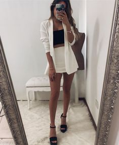 Teen Fashion Outfits, Mode Outfits, Look Fashion, Girl Outfits, Night Outfits, Summer Outfits, Fiesta Outfit, Look Blazer, Blazer Outfits