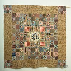 Pieced Printed Cotton and Chintz Patchwork Dewindt Quilt, Michigan, 1853 Old Quilts, Antique Quilts, Barn Quilts, Small Quilts, Vintage Quilts, Civil War Quilts, Sampler Quilts, Art Textile, Traditional Quilts