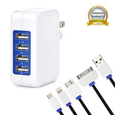 Wall Charger KINGBACK USB Wall Charger 4Port MultiPort USB Charger with 4Cord Multi Cable for iPhone 76s6 Plus iPad Samsung  HTC Nexus Blackberry Power Bank and More *** Read more reviews of the product by visiting the link on the image.