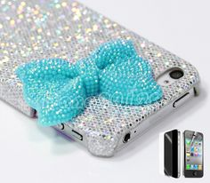 Silver Glitter Cute Girls Blue Crystal Bow Hard Case Cover