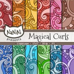 "50% OFF SALE Bright digital paper ""Magical Curls"" swirls pattern, colorful background, free for commercial use"