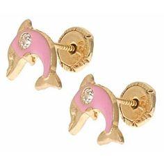 14K Fine White Gold Pony Horse Screw Back Stud Earrings for Girls Gift Kids Children
