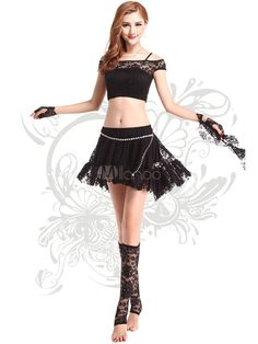 Black Dance Dress Women's Lace Illusion Crop Top Off-Shoulder Belly Dance…