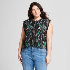 678c91dfeea15 TARGET - Women s Plus Size Floral Print Sleeveless Crochet Detail Blouse -  A New Day™