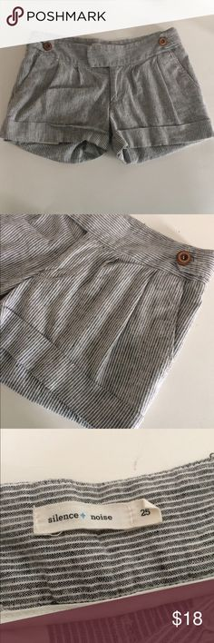 """S&N striped linen shorts Silence & Noise striped shorts. Size 25. Inseam measures 3"""". Rise is 8"""". Waistband is 15"""". Two front pockets. Manufactured with a semi faded/ distressed look. Zipper, button, and hook closure. 52% linen/ 46% cotton/ 2% spandex. Great used condition.  NO TRADES Reasonable offers accepted Great bundle discounts Urban Outfitters Shorts"""