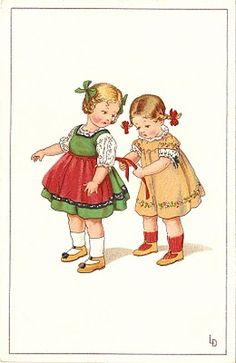 Free Vintage Clip Art - Loving Sisters Trade Card and a Birthday Memory