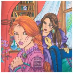 Lysandra and Evangeline from the Throne of glass coloring book. - coloured by Sendaria.