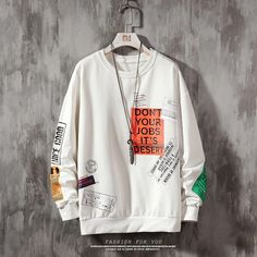 Fresh nd' Clean Sweatshirt Quit Your Job Hoodie Sweatshirts, Swag Shirts, High Fashion Men, Outerwear Jackets, Street Wear, Clothes, Male Streetwear, Hip Hop, Contrast Color