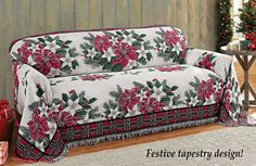 Poinsettia Tapestry Holiday Furniture Cover
