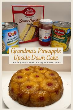 Pineapple upside down cake just the way my grandma made it! This recipe uses a lot of pineapples and pineapple juice, and cake mix to whip up a pretty easy and stunning pineapple upside down cake! Recipes Using Cake Mix, Box Cake Recipes, Just Desserts, Delicious Desserts, Yummy Food, Yummy Yummy, Pineapple Upside Down Bundt Cake Recipe, Pineapple Cake Mix Recipe, Pineapple Dessert Recipes