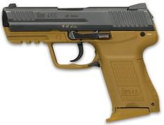 HK compact pistol, with tan-colored frame and DAO trigger unit (notice lack of manual safety and spur-less hammer). Heckler & Koch, Self Defense Weapons, Survival Weapons, Blue Force, Springfield Armory, Lethal Weapon, Cool Guns, Airsoft Guns, Guns And Ammo