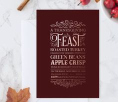 Faux Foil Thanksgiving Feast Invitations by ChelsCreationsDesign