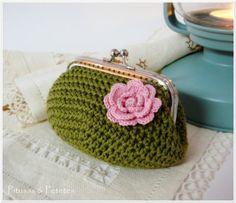 Monedero de ganchillo verde  Bag // Crochet coin purse