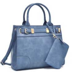 Dasein Front Belted Satchel Handbag with Detachable Matching Wristlet
