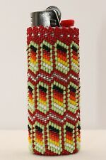 Handmade Native American Navajo Beaded Case for Mini Disposable Lighter Beaded Flowers Patterns, Native Beading Patterns, Beadwork Designs, Bead Embroidery Patterns, Seed Bead Patterns, Beaded Jewelry Patterns, Loom Patterns, Crochet Bracelet Pattern, Bracelet Patterns