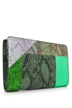 Stella McCartney Waverly Faux Snakeskin Patchwork Clutch