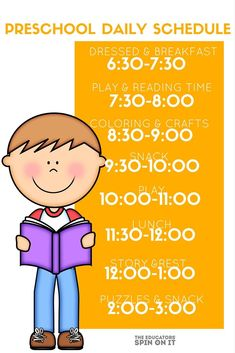 Preschool Daily Schedule , a homeschool schedule for 3-5 year olds #homeschoolingfortoddlerslessonplans