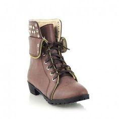 Cheap Wholesale Studs Lace-Up Zipper Combat Boots for Women (COFFEE,39) At Price 20.09 - Dresslily.com