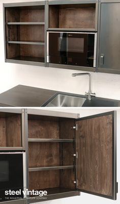 Discover the Workshop Kitchen Range by Steel Vintage. Vintage Kitchen Cabinets, Kitchen Cabinet Design, Kitchen Decor, Solid Doors, Open Face, Bespoke Kitchens, Wall Units, Kitchen Units, Cupboard Doors