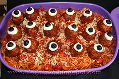 Halloween party on a budget |   Spaghetti and eye balls