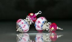 2 Hot Pink & Sapphire Blue Lampwork Bead Dangles or Earrings-Handmade Bead Dangles 14mm Murano Crystal Rondelle Glass Beads by goldcountrydangles on Etsy